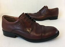 Mens ECCO Brown Leather Smart Shoes Size 7.5 Exc Cond