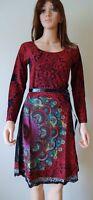 New Desigual Ladies Dress 'YOLANDA RED' Full Sleeves, Size XL