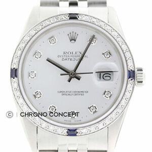 Rolex Mens Datejust 18K White Gold Stainless Steel White Diamond Sapphire Watch