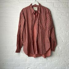 Rare Vintage Overdyed Shirt With Stipes Large Red Grey Urban Causal Rocker Style