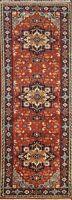 "Geometric Traditional Oriental Runner Rug Handmade Wool 2' 6"" x 7' 10"" Carpet"