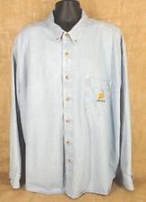 SIERRA PACIFIC Mens Long Sleeve Button Down Light Blue Denim Shirt Tag Size 4XL