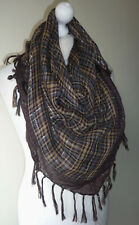 Brown Check Tartan Large Scarf Square Sparkly Warm Silver Lurex Tassels New