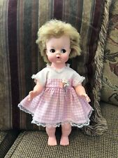 Rare Blonde Vintage Uneeda Baby Doll 1964 14� Vinyl First Doll To Pee And Drink