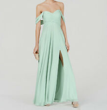 $355 Sequin Hearts Women Sage Green Off-Shoulder Pleated Long Gown Dress Size 1