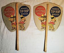 2 MATCHING VINTAGE WARDS BAKING DAINTYMAID & TIP-TOP BREAD ADVERTISING HAND FANS
