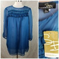 New Suzanne Betro size Large Baby Doll Peasant Top Blouse Ruffle Semi Sheer