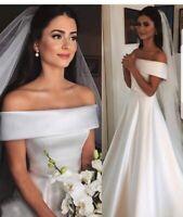 UK White/ivory Princess Off Shoulder Satin A Line Bridal Wedding Dress Size 6-20