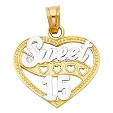 Multi Heart Sweet 15 Quinceanera Real 14k Two Tone Solid Gold Charm 17mm Pendant
