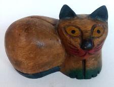 "Wood Cat Folk Art Primitive Carved Solid Wood Siamese Fat Cat 4.5"""