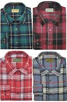 Mens Flannel Lumberjack Check Brushed YARN DYED Cotton Work Shirt By Tom Hagan