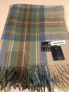 House Of Balmoral Wool Rug Blanket Muted Blue Stewart Tartan Check Throw Rug