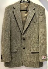 """Harris Tweed Jacket, Green Fabric, Size: 36""""R - Never Used, Pockets/Vents Shut"""