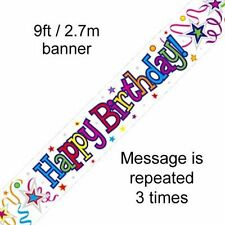 Happy Birthday White Streamers Holographic 9ft Banner