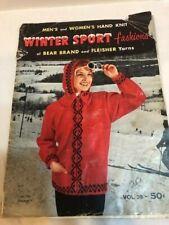 Winter Sport Fashions Bear Brand Knit Pattern Magazine Vintage 1957