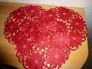 Weihnachtsdeckchen Konvolut 3 Deckchen rot rund 29 cm Durchmesser