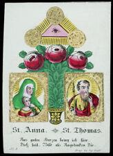 santino incisione 1800 S.ANNA S.TOMMASO AP.OCCHIO DI DIO dip. a mano RUDL