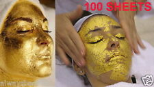 100 PCS GOLD LEAF SHEETS 100% 24K FOR FACIAL MASK AESTHETIC SPA MANICURE BEAUTY