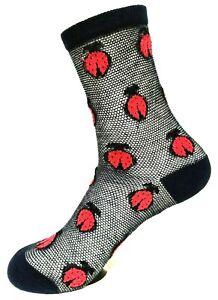 """Fashion Socks Sympatico With Ladybug & Glitter """" Blue """" Gr.35-38, 39-42"""