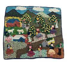 Jodaline handmade in Peru Sewing Orange Fruit Orchard Scene Wall Tapestry NEW