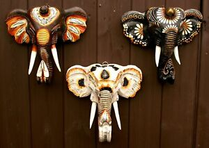 Elephant Head Wall Hanging Plaque Wooden Handcarved Painted Decor Height 25 cms