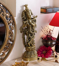 Brass Murli Krishna Statue Antique Finish Hindu God Krsna Figurine Sculpture Art