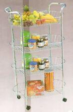 NUOVO 4 Tier cucina TROLLEY RUOTE Storage CHROME frutta verdura RACK STAND carrello