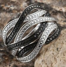 Black Diamond Accent Crossover Ring - Black Rhodium/ Platinum Bond Brass - Sz 5