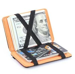 New Men Women Magic RFID Credit Card ID Holder PU Leather Money Mini Thin Wallet