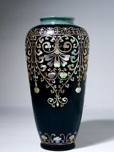 Important Antique Goryeo or Song Celadon Porcelain Vase w/ Later Lacquer and MOP