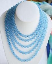 "Beautiful Fashion 8mm round blue jade Gemstone bead necklace Long 100"""