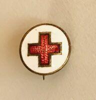 Tiny Antique Red Cross Pin Badge Rare Vintage (J7)
