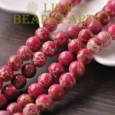 30pcs 8mm Round Natural Stone Loose Gemstone Beads Rose Imperial Jasper