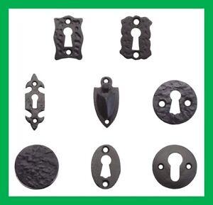 Cast Iron Black Antique Standard Door Key Hole Escutcheon Traditional Lock Cover