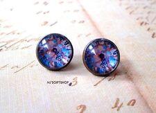 Blue Multicolor Vintage Clock Cabochon Stud Earrings,Earring Post