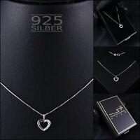 Herz Kette Halskette 925 Sterling Silber Damen ❤ Swarovski® Kristalle ❤ im ETUI