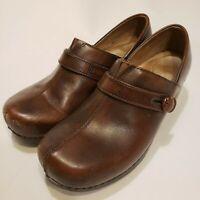 Dansko Women's Solstice Brown Leather Nursing Slip On Clogs Size 39 EU , US 8.5