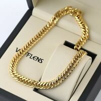 "Men's Necklace Unique Chain 18k Yellow Gold Filled 24""Link Fashion Jewelry"