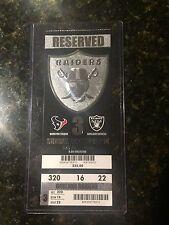 2014 Oakland Raiders vs Houston Texans Ticket Stub Derek Carr First Home Game