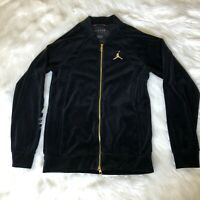Air Jordan Velour Size Small Full Zip Men's Track Jacket Black Gold