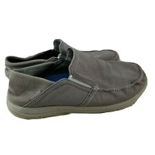 CROCS TRIPLE COMFORT Grey Canvas Moccasin Loafers 11