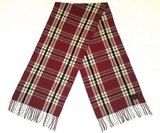 VINTAGE AUTHENTIC PLAID & CHECK BURGUNDY CASHMERE BLEND LONG MEN'S FRINGE SCARF