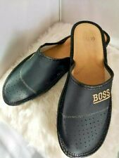 MENS 100% NATURAL LEATHER BOSS SLIPPERS MULES CLOGS SHOES SIZES 13,14