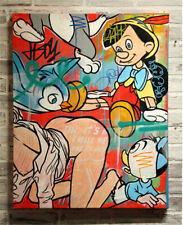 """Alec monopoly """"Pinocchio & Duck"""" ,Handcraft Oil Painting on Canvas ,24x32in"""