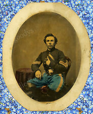 YOUNG MAN TEENAGE CAVALRY SERGEANT CIVIL WAR SOLDIER LARGE TINTED ALBUMEN PHOTO