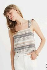 NWT Madewell Womens Texture & Thread Ruffle Strap Tank Top Size M Striped