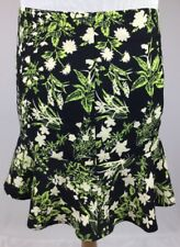 Anthropologie Ladakh Green Black Ivory Floral A-Line Over-The-Knee Skirt size L