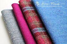 Harris Tweed Fabric bundle  Fuchsia, Blue Pack x 4PCS (30x25cm each)
