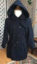 BONPOINT MIDNIGHT Wool-Blend GABARDINE Trench Coat HOODED Jacket 4 $400+ INK