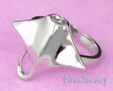 SOLID Sterling Silver MANTA RAY Ring * Ocean Sealife Diver Ring Size Adjustable